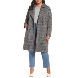 Halogen Double Fold Collar Blue Plaid Wool Coat